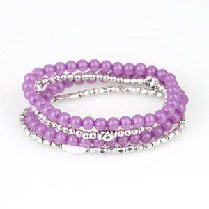 Blooming Buttercups Purple Silver Stretch Bracelet